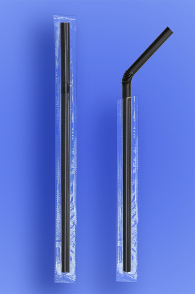 "SUPER JUMBO FLEXI STRAW 7.75"" - CELO WRAPPED - BLACK - (2,000/case)"