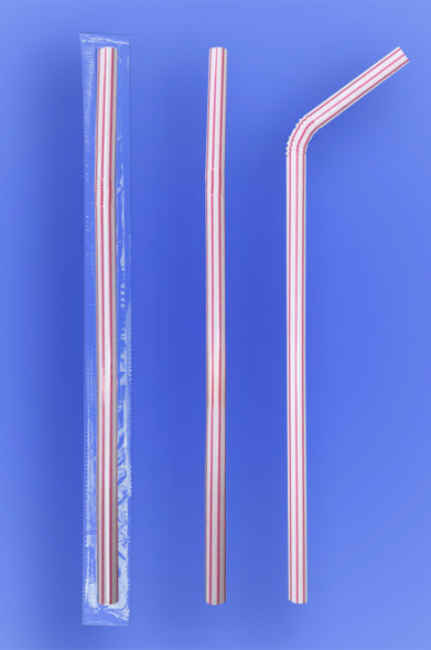 Flexi Red Stripes Super Jumbo Straw