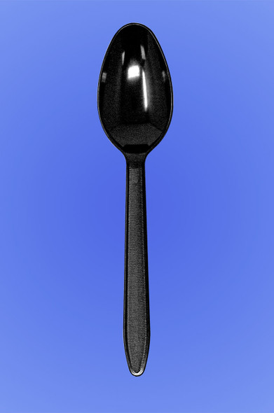 MEDIUM WEIGHT BLACK DISPOSABLE PLASTIC SPOON - INDIVIDUALLY CELO WRAPPED CWPPNG.E2