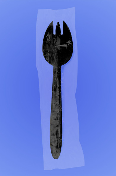 "MEDIUM WEIGHT PREMIUM 6"" SPORK -INDIVIDUALLY CELO WRAPPED - BLACK PP - 1,000/case"