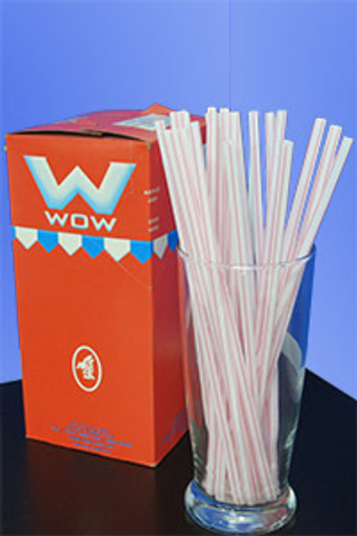 "JUMBO STRAW 10.25"" - RED STRIPES - 30/250 (7,500/case)"