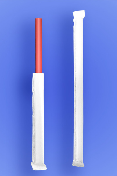 """GIANT STRAW 9"""" - PAPER WRAPPED - RED - 4/350 (1,400/case)"""