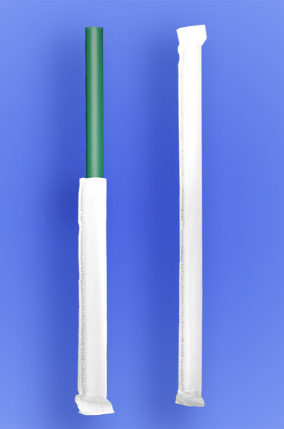 """GIANT STRAW 9"""" - PAPER WRAPPED - GREEN - 4/350 (1,400/case)"""