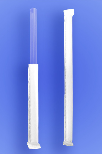 """GIANT STRAW 9"""" - PAPER WRAPPED - CLEAR - 4/350 (1,400/case)"""