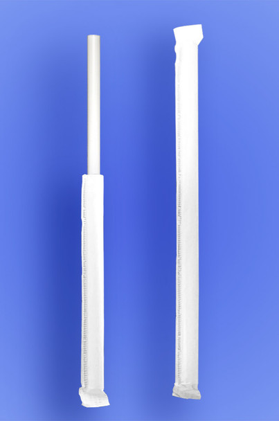 """JUMBO STRAW 10.25"""" - PAPER WRAPPED - WHITE - 4/500 (2,000/case)"""