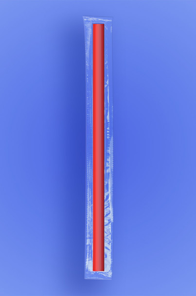 """GIANT STRAW 10.25""""  - CELO WRAPPED - RED - 4/350 (1,400/case)"""