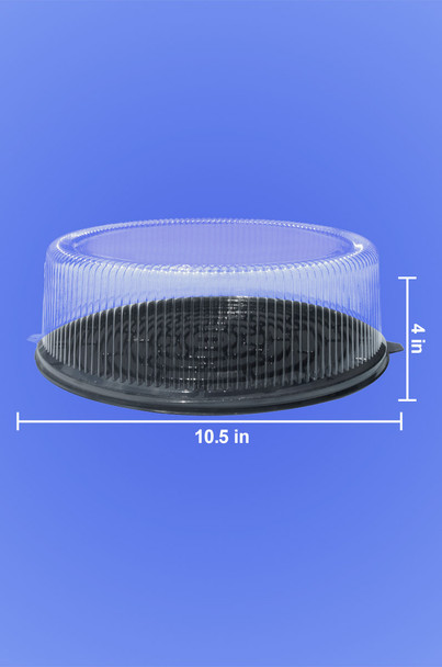 """8"""" CAKE CONTAINER - 10.5"""" BLACK BASE - 4"""" TALL - 50/CASE"""