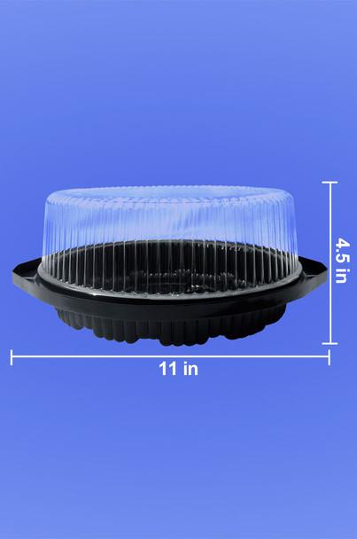 """8"""" CAKE CONTAINER - CIRCULAR 11"""" BLACK - DEEP BASE - 4.5"""" TALL - 40/CASE"""