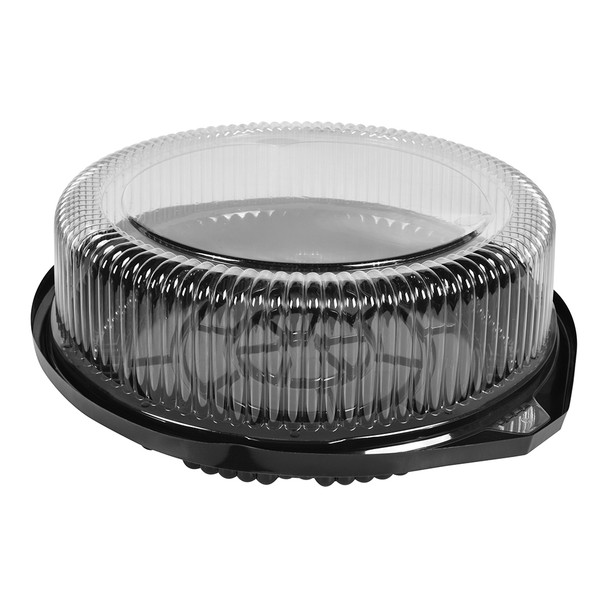 "8"" CAKE CONTAINER - CIRCULAR 11"" BLACK - DEEP BASE - 4.5"" TALL - 40/CASE"