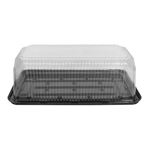 "LOG CAKE/DELI CONTAINER - 14""x7"" LONG RECTANGULAR BLACK BASE - 4.75"" TALL - 50/CASE"