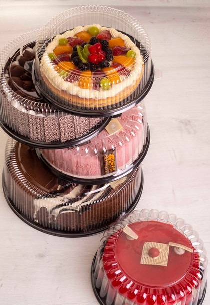 """9"""" CAKE CONTAINER - 11.5"""" BLACK BASE - 3.5"""" TALL - 50/CASE"""