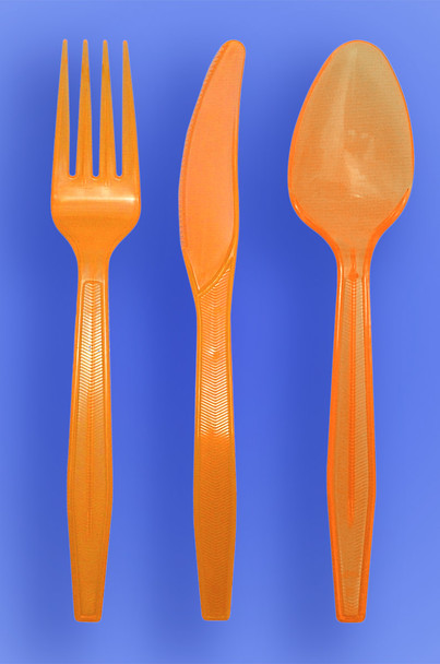 MEDIUM WEIGHT SPOON, FORK, KNIFE - NEON ORANGE - 3/1000 (3,000/case)