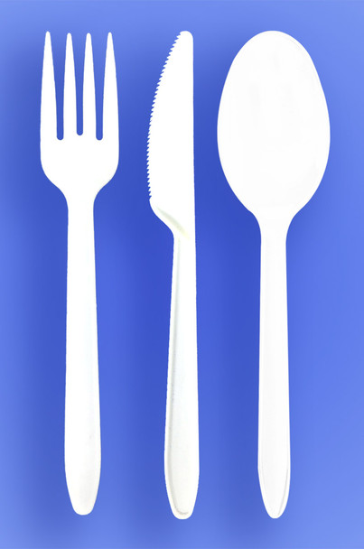 HEAVY WEIGHT SPOON, FORK, KNIFE - WHITE - 3/1000 (3,000/case)