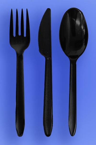 HEAVY WEIGHT SPOON, FORK, KNIFE - BLACK - 3/1000 (3,000/case)