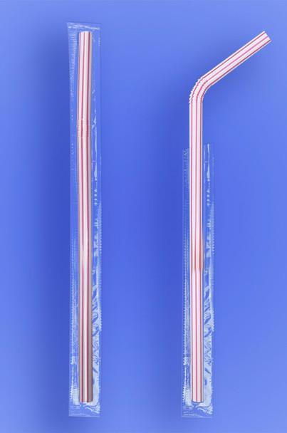 "SUPER JUMBO FLEXI STRAW 7.75"" - CELO WRAPPED - RED STRIPES - (2,000/case)"