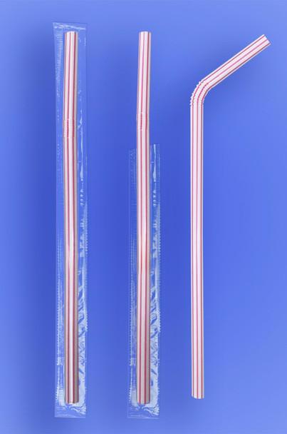 Red Stripes Flexi Straw