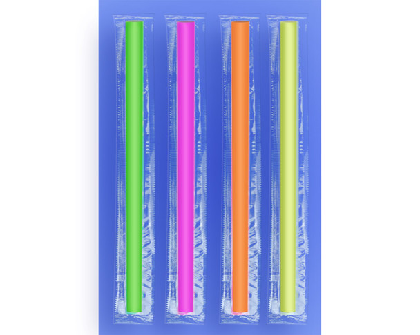 """COLOSSAL STRAW 10"""" - CELO WRAPPED - NEON - 2/750 (1,500/case)"""