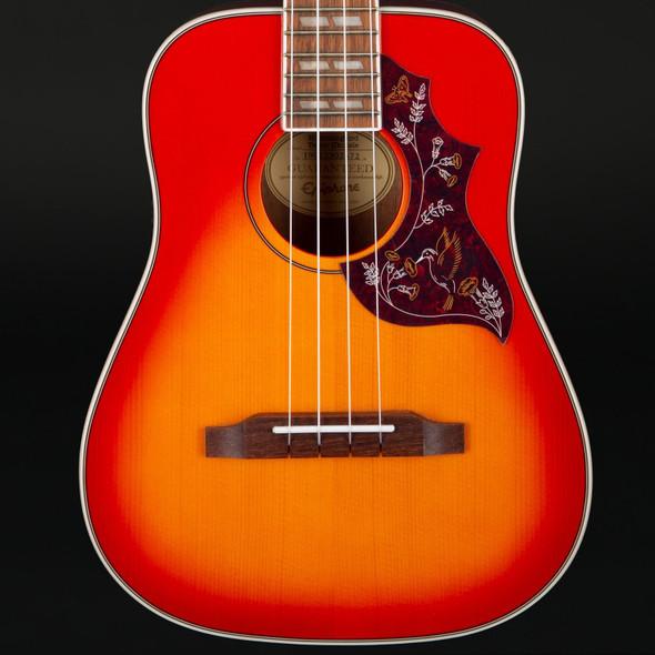 Epiphone Hummingbird Electro Acoustic Tenor Ukulele Outfit In Faded Cherry Sunburst