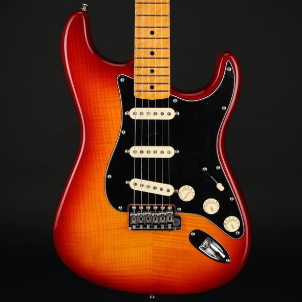 Fender Rarities Flame Ash Top Stratocaster, Birdseye Maple Neck in Plasma Red Burst #US19006515