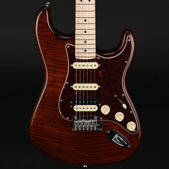 Fender Rarities Flame Maple Top Stratocaster, Rosewood Neck with Maple Fingerboard in Golden Brown #LE09828