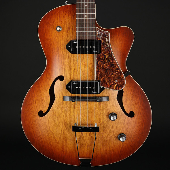 Godin 5th Avenue King CW 2xP90 in Cognac Burst with Tric Case #032327004704