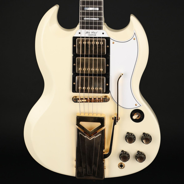 Gibson Custom Shop 60th Anniversary 1961 SG Les Paul Custom with Sideways Vibrola in Polaris White VOS #103601