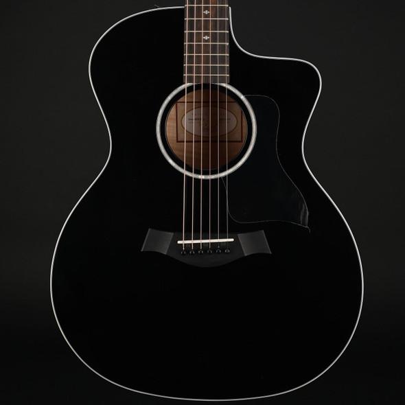 Taylor Custom 214ce-BLK DLX Deluxe Grand Auditorium Cutaway, ES-2 in Black #2201211173