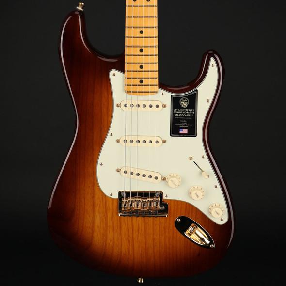 Fender 75th Anniversary Commemorative Stratocaster, Maple Fingerboard in 2-Color Bourbon Burst #US21006181