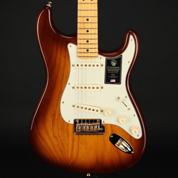 Fender 75th Anniversary Commemorative Stratocaster, Maple Fingerboard in 2-Color Bourbon Burst #US21006176