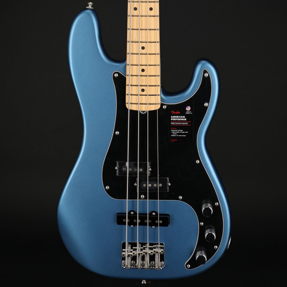 Fender American Performer Precision Bass, Maple Fingerboard in Satin Lake Placid Blue #US210048023