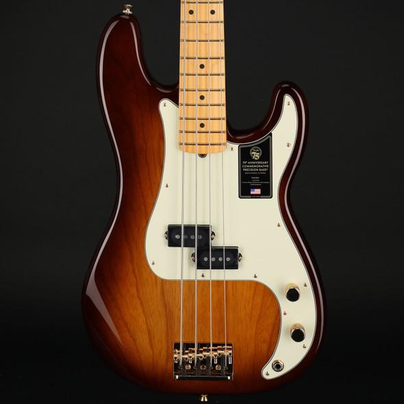 Fender 75th Anniversary Commemorative Precision Bass, Maple Fingerboard in 2-Color Bourbon Burst #US21006265
