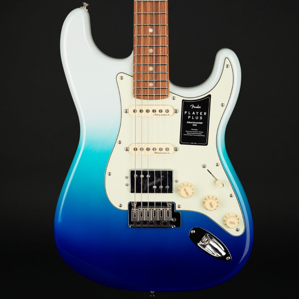 Fender Player Plus Stratocaster HSS, Pau Ferro Fingerboard in Belair Blue