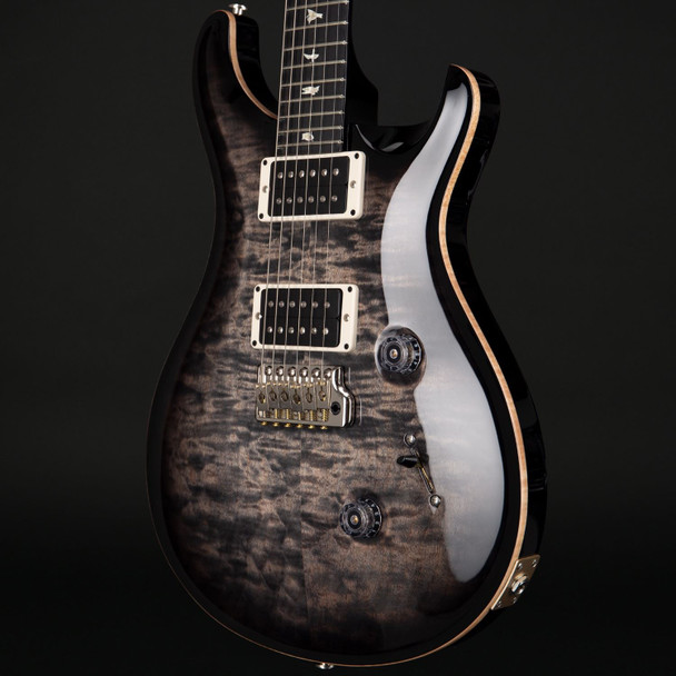 PRS Custom 24 in Charcoal Burst Quilt with Pattern Thin Neck, 85/15 Pickups #242951