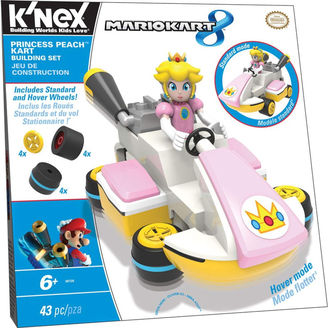 K Nex Super Mario Mario Kart 8 Princess Peach Kart Set 38726