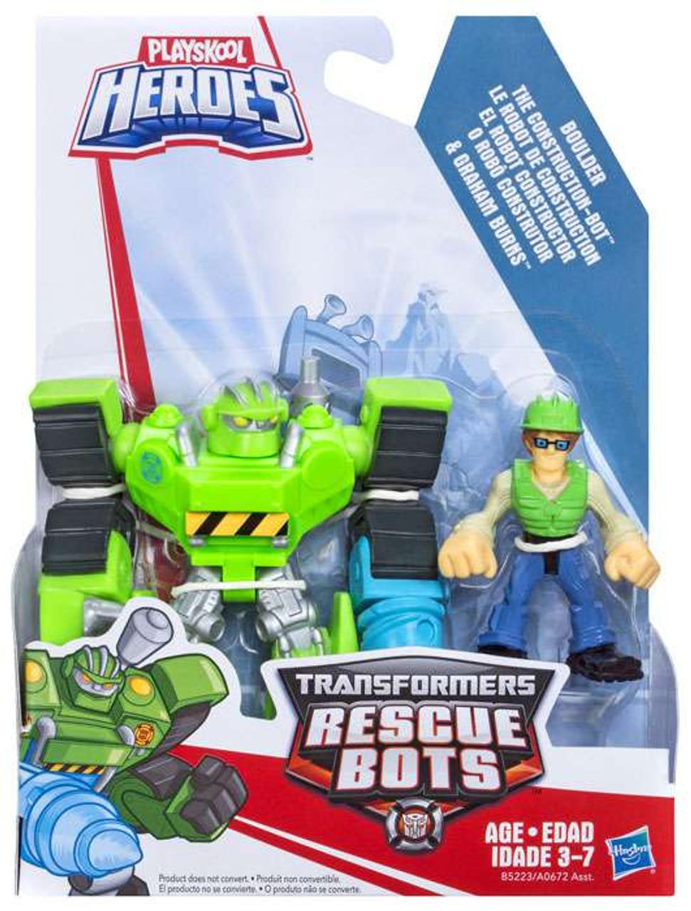 Transformers Rescue Bots Playskool Heroes Boulder the Construction-Bot &  Graham Burns Action Figure 2-Pack