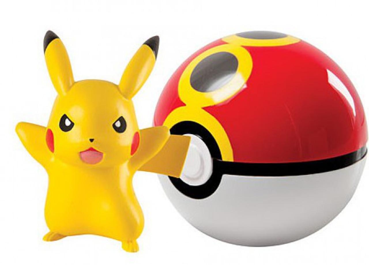 Pokemon Clip N llevar Pokeball Pikachu /& Gran Ball Figura Set TOMY CHOP portátil