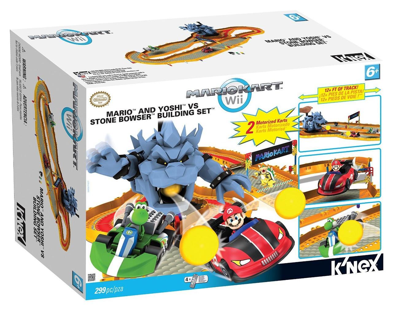 K Nex Super Mario Mario Kart Wii Mario And Yoshi Vs Stone Bowser Set 38436