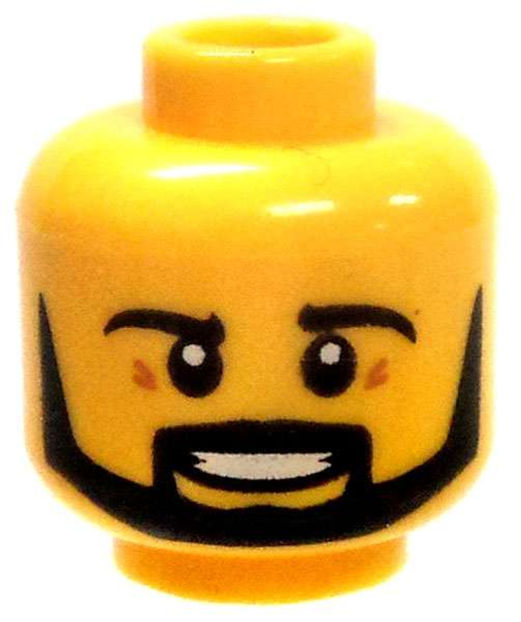 Lego New Yellow Minifigure Head Dual Sided Black Thick Eyebrows and Stubble