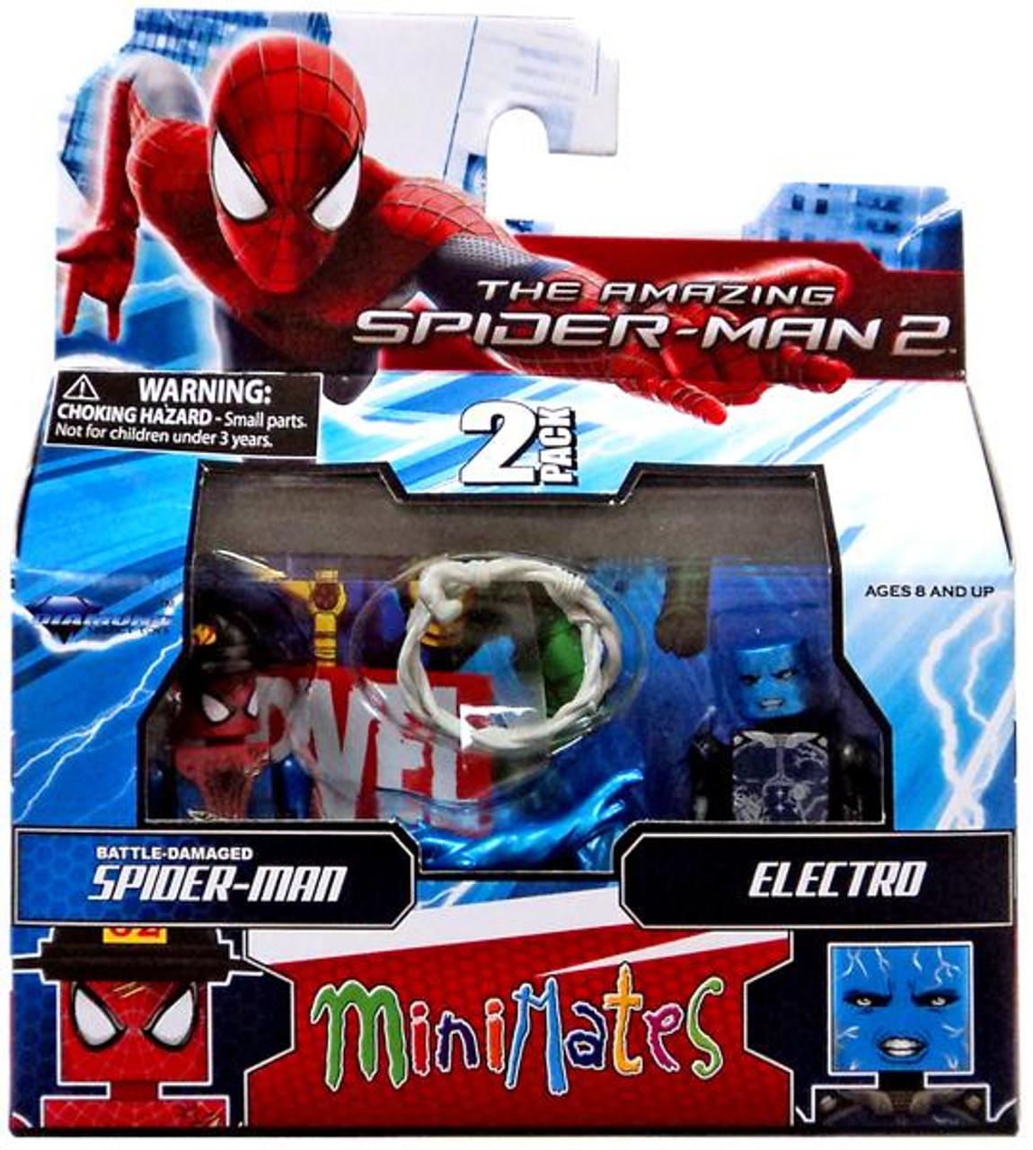 BATTLE-DAMAGED SPIDER-MAN /& ELECTRO THE AMAZING SPIDER-MAN 2 MINIMATES