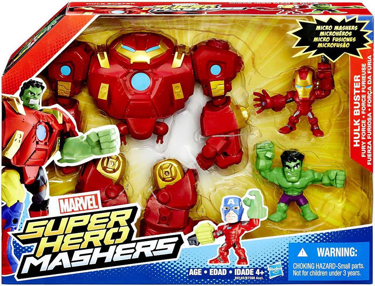 Marvel Super Hero Mashers Hulk Buster Fury Force Figure Set  Micro Hulk   Iron  Man 82830acdf6