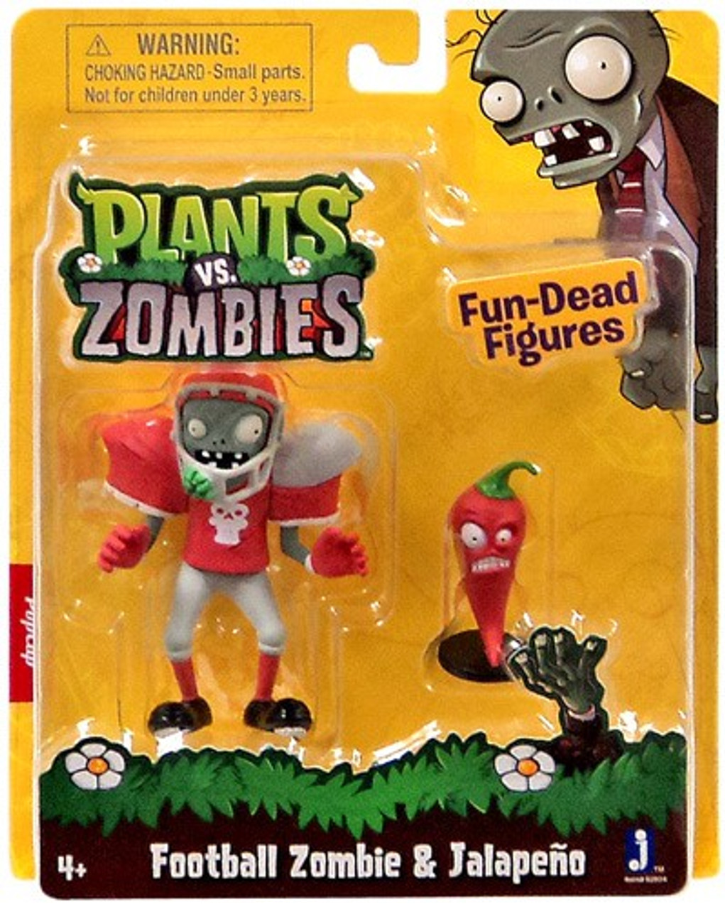 Plants Vs Zombies Fun Dead Figures Football Zombie Jalapeno 3 Figure 2 Pack Jazwares Toywiz