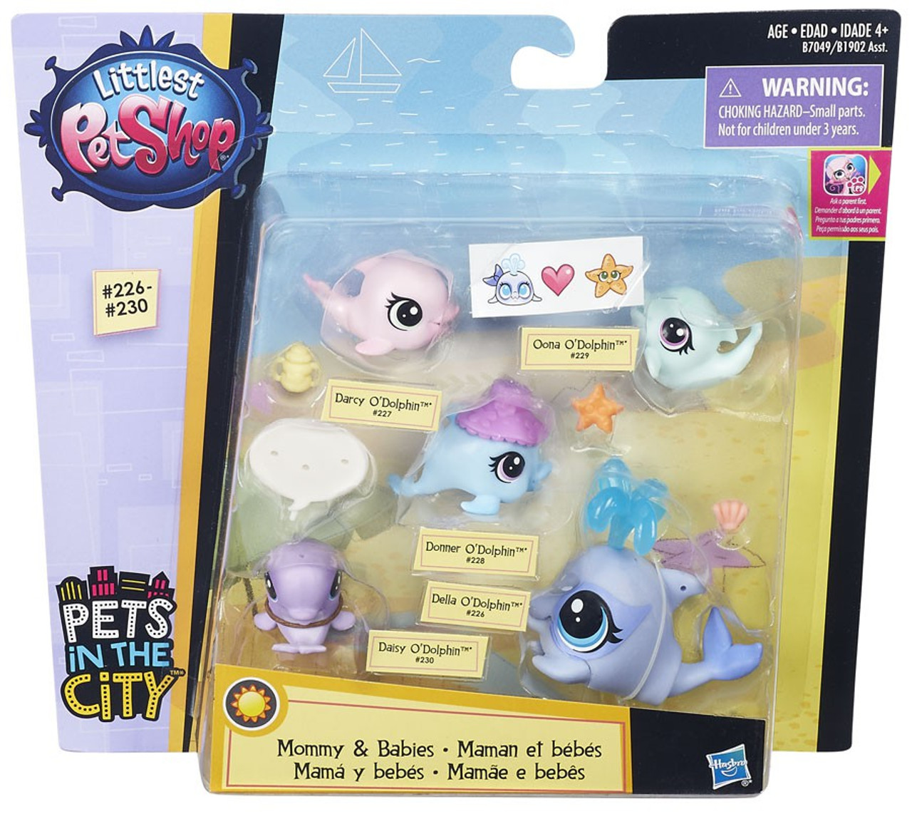 Littlest Pet Shop Mommy Babies Dolphins Mini Pet 5 Pack Hasbro Toys
