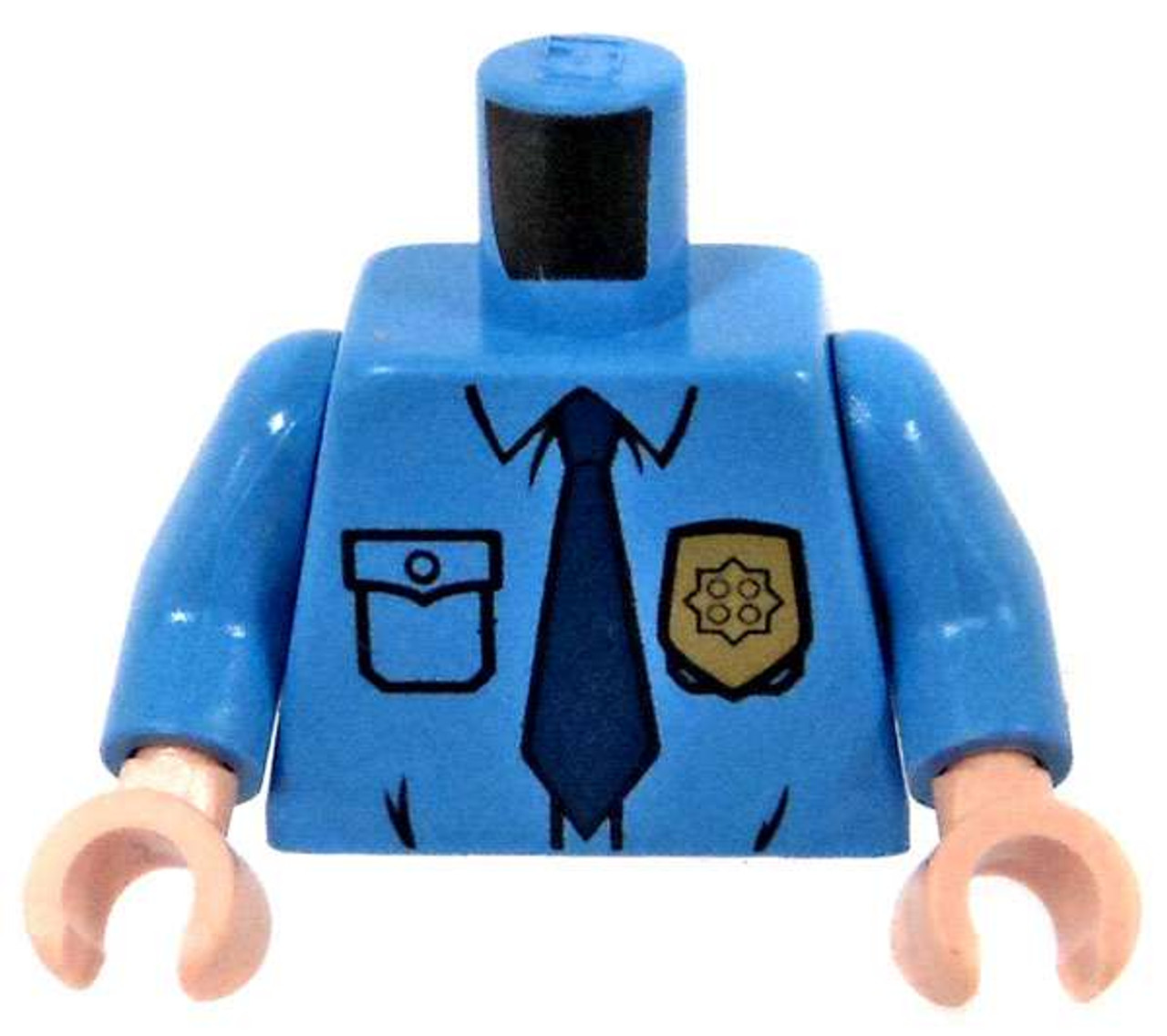 LEGO-MINIFIGURES X 1 WHITE TORSO WITH BLUE OVERALL AND V-NECK PARTS