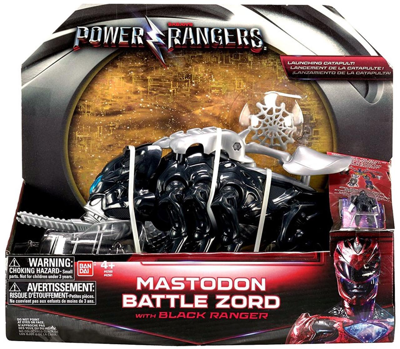 Power Rangers Movie Mastodon Battle Zord with Black Ranger Figure