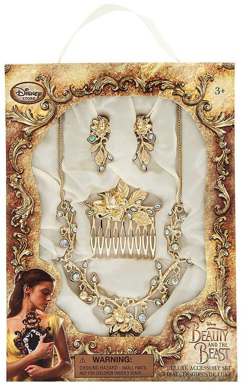New Disney Beauty Beast Princess Belle Costume Jewelry Accessory Compact Set