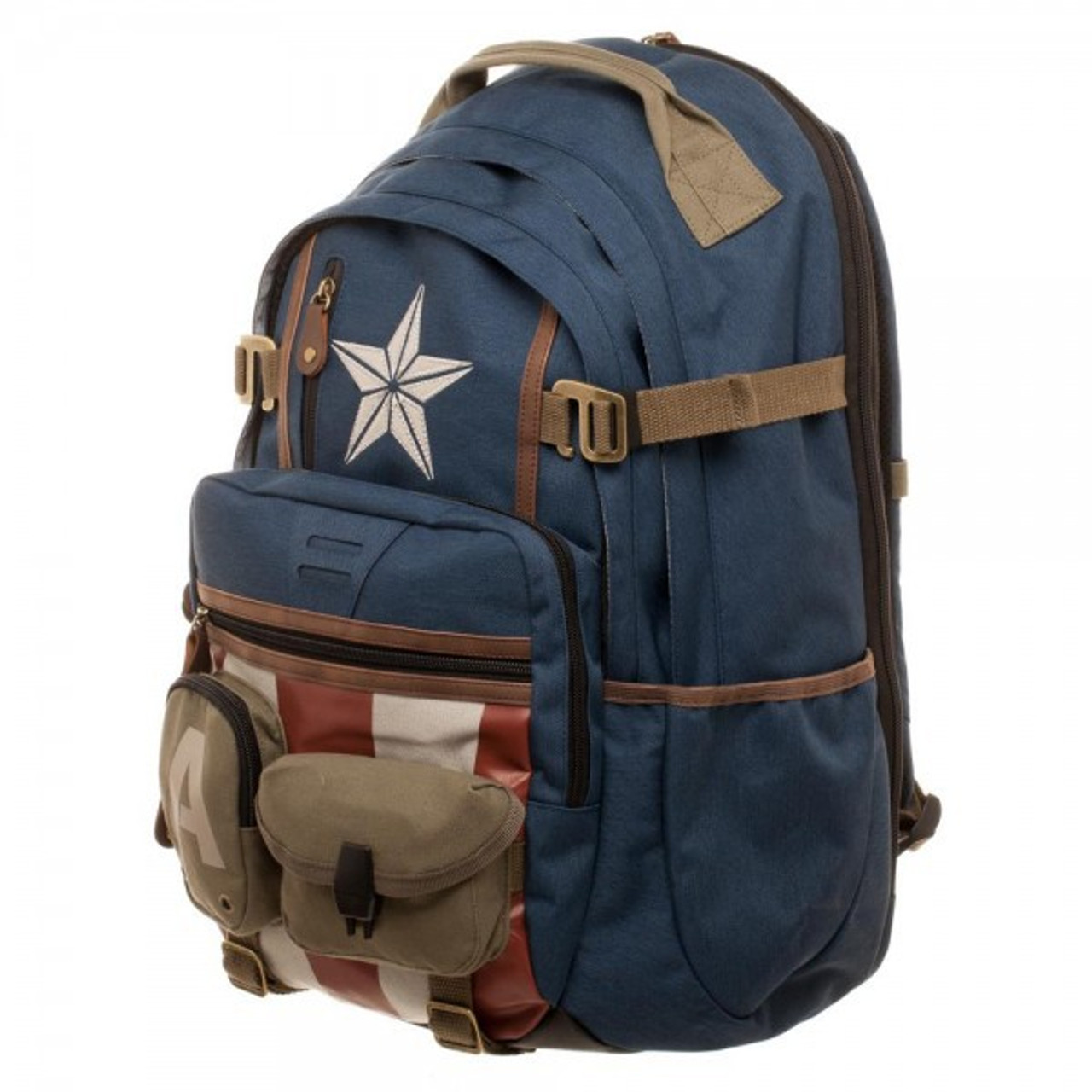 3a3202065c Marvel Captain America Captain America Built with Herringbone Backpack  Apparel Bioworld - ToyWiz