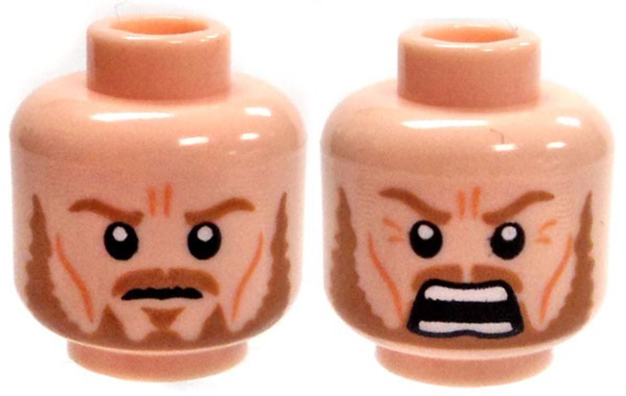 Firm Expression LEGO Minifigure Head LIGHT FLESH Male Dual Sided Stubble Smile