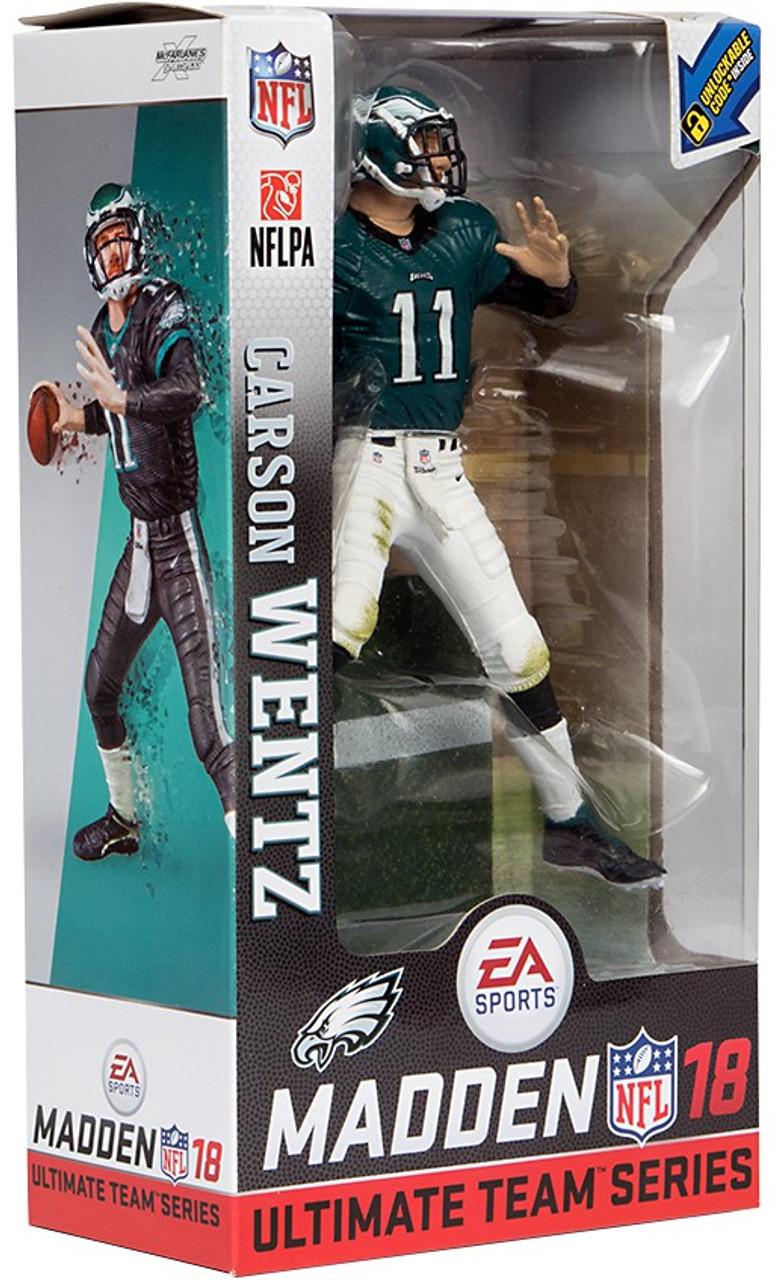 c3160bf46 McFarlane Toys NFL Philadelphia Eagles EA Sports Madden 18 Ultimate Team  Series 1 Carson Wentz 7 Action Figure Teal White Uniform Chase - ToyWiz