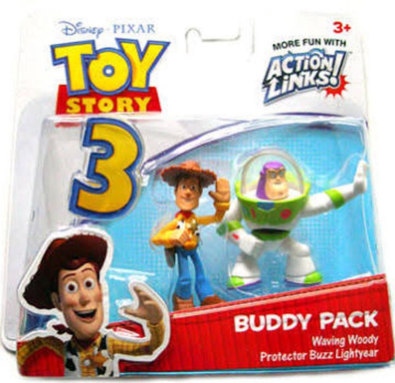 Toy Story 3 Buddy Pack Waving Woody Protector Buzz Lightyear Mini Figure 2- Pack Mattel Toys - ToyWiz c79b802c6e1