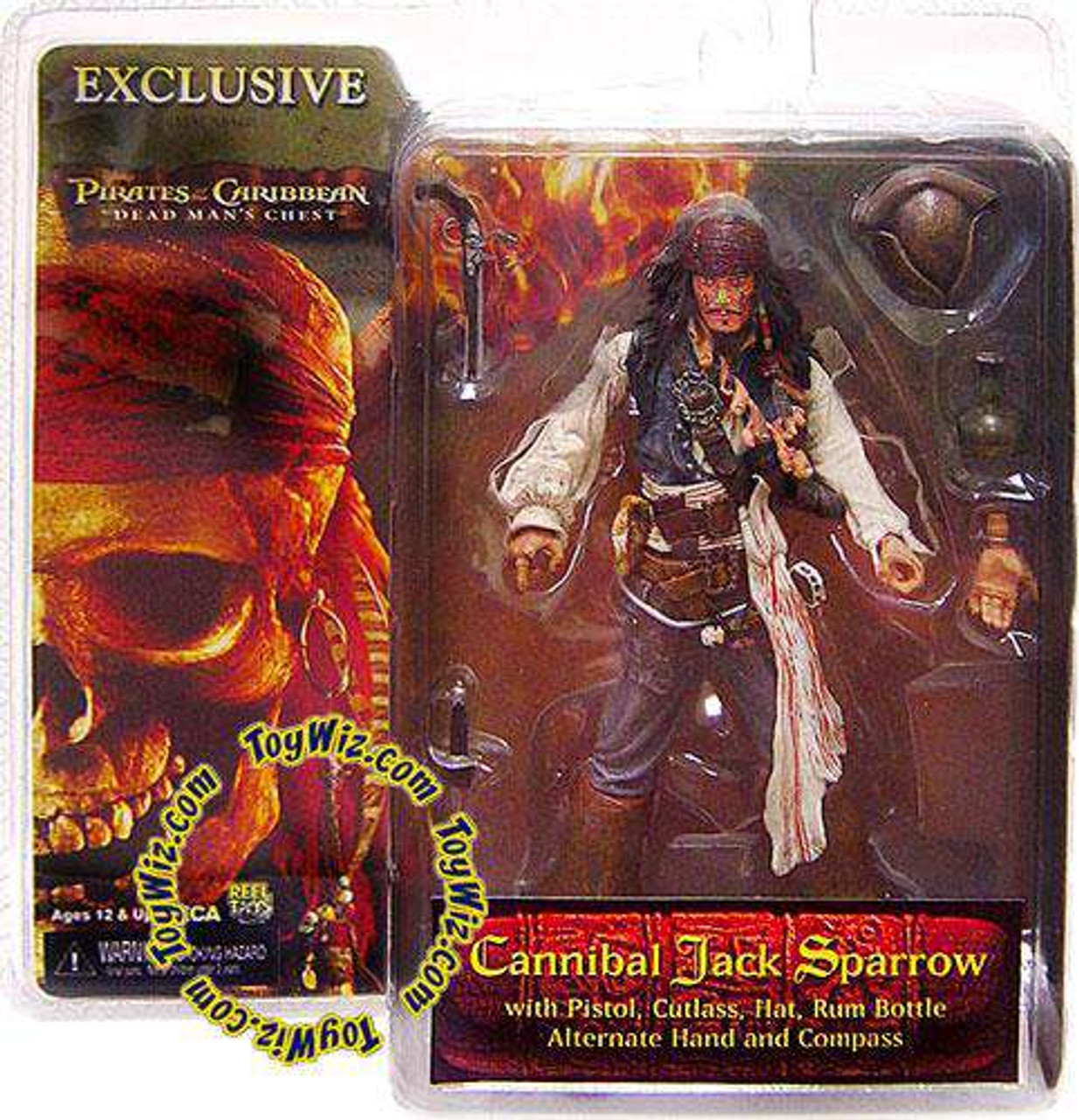 NECA Pirates Caribbean Dead Man/'s Chest JACK SPARROW Cannibal Figure Exclusive